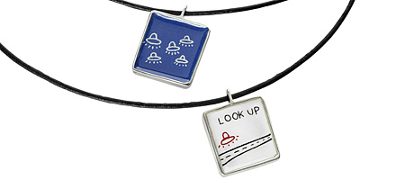 LOOK UP NECKLACE - UncommonGoods :  necklace flying saucer reversible