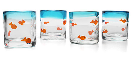 GOLDFISH TUMBLERS | Blue Tint Glasses with Cute Pet Fish Motif | UncommonGoods