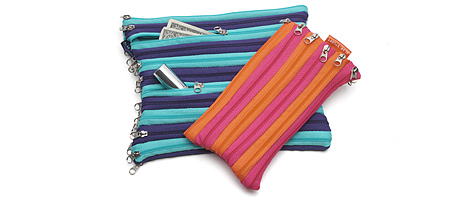 ZIPPER POUCHES | Bright, Colorful Cosmetic, Money, Change Holders Made Entirely of Zippers | UncommonGoods :  zipper pouches made holders money
