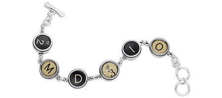 STERLING SILVER SIX KEY TYPE BRACELET | Sterling Silver Six Key Bracelet - Stylish Vintage Accessory for Antique Lovers, Made With Authentic Typewriter Keys | UncommonGoods from uncommongoods.com