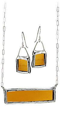 AMBER RECYCLED BOTTLE JEWELRY | Unique, Quirky, Stylish Rich Yellow Recycled Glass and Silver Earrings and Necklace, Handmade by Kathleen Plate | UncommonGoods
