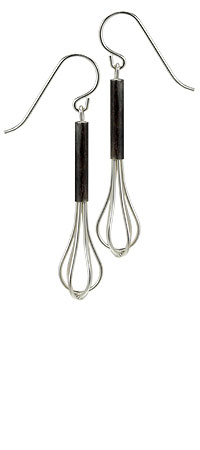 WHISK EARRINGS | Whisk Earrings - Silver Kitchen Utensil Dangles for Quirky Chefs, Handmade by Debbie Howe | UncommonGoods from uncommongoods.com