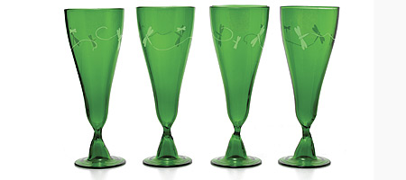GREEN GOBLETS WITH DRAGONFLY ETCHING - SET OF 4 - UncommonGoods from uncommongoods.com