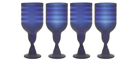 COBALT STRIPE GOBLETS - SET OF 4 - UncommonGoods from uncommongoods.com