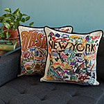 Hand Embroidered State Pillows  :  city hand embroidered pillows state pride campy fun