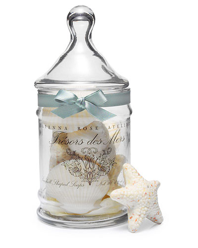 SEASHELL SOAPS IN APOTHECARY JAR