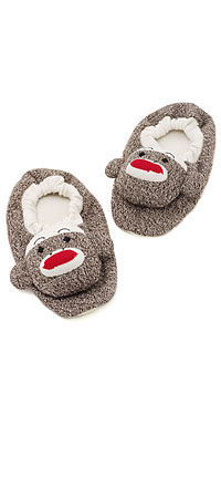 ADULT SOCK MONKEY SLIPPERS | Fun, Plush Sock Monkey House Shoes - Adult Sized | UncommonGoods