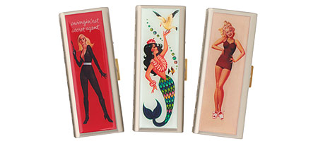 SAUCY TAMPON CASES | Metal Tampon Cases with Cheeky, Sassy, Sexy Retro Graphics | UncommonGoods :  hygiene mermaid sailor tampon case
