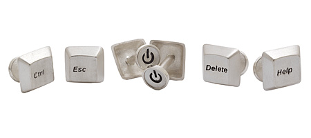 COMPUTER KEY CUFFLINKS | Unique, Handmade Debbie Howe Delete, Help, Ctrl and Esc Keyboard Accessories | UncommonGoods :  fn cuff links jewelry alt