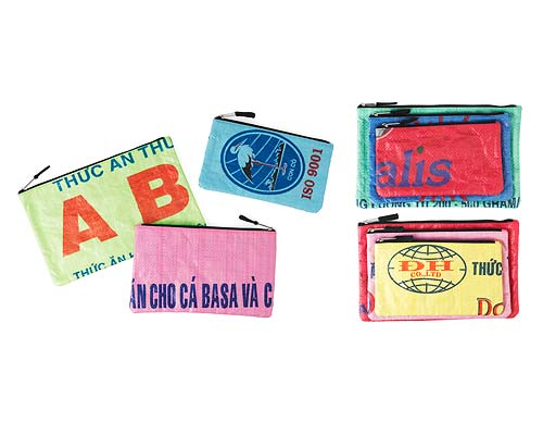 RECYCLED COSMETIC POUCHES - SET OF 3