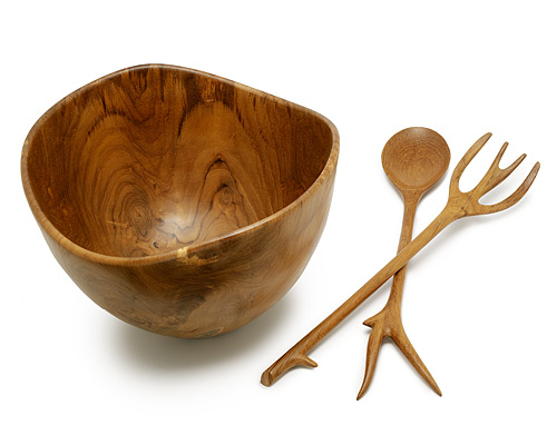 Wooden Salad Bowl And Servers Teak Wooden Salad Bowl And