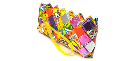 RECYCLED CANDY WRAPPER CLUTCH PURSE | Wristlet Bag Of Bright Criss-Crossed Wrappers From Candies | UncommonGoods :  uncommon goods handmade environmentally friendly bright