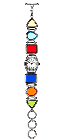 KALEIDOSCOPE GLASS WATCH | Multi-colored stained glass timepiece encased in sterling silver | UncommonGoods