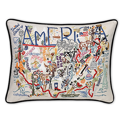 AMERICA & CANADA EMBROIDERED PILLOWS