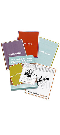 VINTAGE SLANG FLASHCARDS | Practice the lingo from a time-gone-by with illustrated vocabulary cards | UncommonGoods :  lingo practice vintage aged