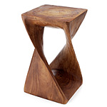 Monkey Pod Wood Twist Stool :  hand carved monkey pod sturdy brown