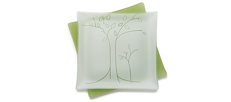 PLATES WITH PURPOSE (TM) - TREES PLATTER | Frosted plates with nature images go to help local community organizations | UncommonGoods :  eco-friendly recycled glass