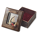 HORSESHOE RELIQUARY BOX | Handmade Copper box with horseshoe charm and various beads floating under glass lid | UncommonGoods