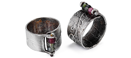 TOURMALINE AND SILVER ADJUSTABLE RING | Rustic Metal Jewelry With Three Semi-Precious Stones Made By Eric Silva | UncommonGoods