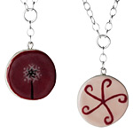 Handpainted Reversible Ceramic Neclaces :  jewelry charming reversible handpainted