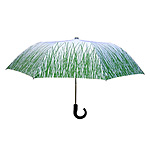 Green Skies Forever | Grass Print On White Travel Umbrella :  uncommongoods push button design grass print sturdy