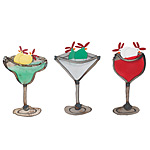 Party Chicks Wall Art | Margarita, Martini, Wine Chickens | Recycled Tin Wall Hangings | Uncommon Goods