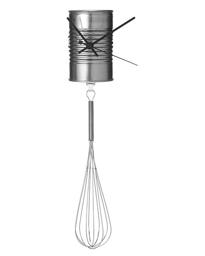 SOUP CAN WITH WHISK PENDULUM WALL CLOCK