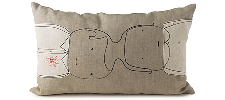 CONNECTED COUPLE NATURAL HEMP PILLOW | Funky, Original And Modern Sustainable Pillows By Mary And Shelly Klein Of K Studio | UncommonGoods :  indie funky connected pillows