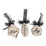 BEVELED GLASS ORNAMENTS | Jan Blough Christmas Decoration Holiday Word Beveled Glass Ornament With Black Ribbon | UncommonGoods :  beautiful christmas gift antique ornaments