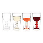 ILLUSION WINE GLASSES - SET OF 4 | Optical Illusion Floating Wine Glass Within Pint Glass - Fun, Inventive, Clever, Modern Design, Kitchen And Party Gift | UncommonGoods from uncommongoods.com