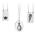 HAND DRAWN GLASS NECKLACES | Laurel Denise Old-Fashioned Stopwatch, Clock, Teapot And Angel Wing Glass Pendants And Sterling Silver Chain Elegant And Modern Necklaces | UncommonGoods