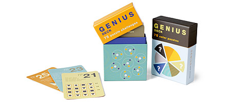 GENIUS DECKS | Puzzles, Number Problems, Logic Tests And Riddles In 75 Card Deck By Puzzle Masters | UncommonGoods :  genious smart iq father