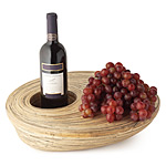 EXPRESSIVITY BAMBOO WINE/SERVEWARE | Bamboo Wine Bottle And Cheese Serving Platter For Parties, Dinners, Entertaining Spun Split Bamboo Canes Oval Shaped Platter | UncommonGoods