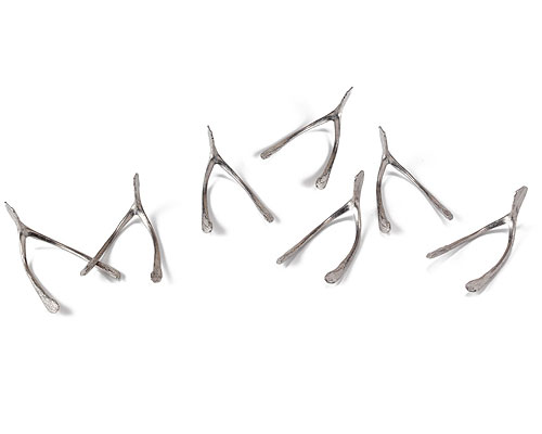 HANDMADE PEWTER WISHBONES - SET OF 7