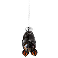 Hand Blown Glass Bat Fan Pull