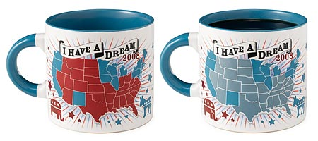 DEMOCRATIC 'I HAVE A DREAM 2008' MUG | Democratic Blues I Have A Dream 2008 Mug Turns The Red States Blue When Hot Drink Is Poured In | UncommonGoods from uncommongoods.com