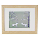 'PEACEFUL CALM' PRINT | Alena Hennessy Two White Horses In Forest Clearing, Pure, Simple, Calming, Pretty, Modern, Artwork | UncommonGoods :  original home accent art work decoration