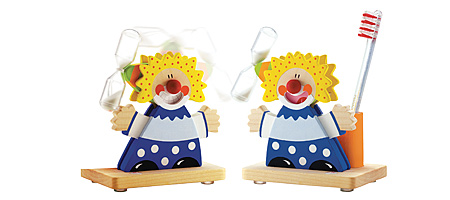 CIRCUS TOOTHBRUSH TIMER | Wooden Clown Tooth Brush Timers And Cup, Kids Good Hygiene, Childrens Bathroom, Fun, Useful, Hourglass Timer Helps Kids Learn To Brush Teeth Properly | UncommonGoods