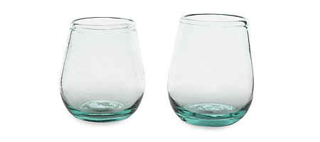 RECYCLED WINDSHIELD WINE GLASSES SET OF 2 Recycle Wines Glasses Windshield Glass Old Vehicles Old Car Glass From Windows Stemless Wine Goblets Vintages A good Year Barware UncommonGoods from uncommongoods.com