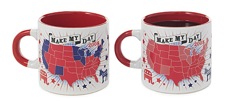 REPUBLICAN 'MAKE MY DAY 2008' MUG | Red States Republican Mug Changes Color With Hot Liquid Grand Old Party Mugs Coffee Cup, Political, Politics, Government, Election, GOP | UncommonGoods from uncommongoods.com