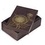 SUNFLOWER NESTING BOXES - SET OF 3 | Sunflowers, Mango Wood, Beautiful Keepsake, Catch-All Boxes, Handmade in Thailand, Sustainable, Gold Sunflower Pain and Cutout, Gorgeous, Striking | UncommonGoods from uncommongoods.com