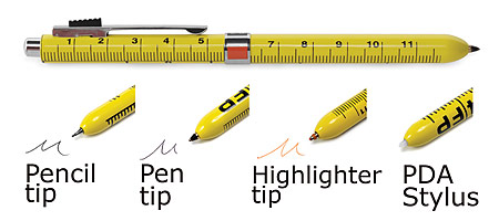 4 FUNCTION RULER PEN | Ruler Pen Includes Orange Highlighter, Black Ballpoint Pen, Pencil, Eraser, PDA Stylus All In One Yellow Ruler Pens, Innovative, Smart, Simple | UncommonGoods