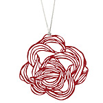 POP OUT NECKLACE - RED LEAVES | Melissa Borrell Pop-Out Pendants, Necklaces, Red Leaves, Leaf Hand Drawn Image, Creative, Imaginative, Fun, Cool, Modern Jewelry | UncommonGoods