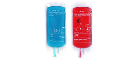 DOCTOR BAGS - DR. COOL &amp; DR. HOT PACKS | IV Bags In Dr. Hot or Dr. Chill, Funny, Clever, Hot and Cold Ice And Heat Bags for Sore Muscles, Bruises, Bumps, Home Treatment | UncommonGoods from uncommongoods.com