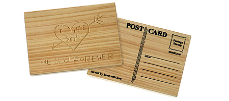 CARVE YOUR OWN POSTCARD | Wooden Postcard, Carved, Carves, Cards, Etch With Keys, Sharp Object, Solid Wood, Creative, Different, Funky, Cool, Valentine | UncommonGoods from uncommongoods.com
