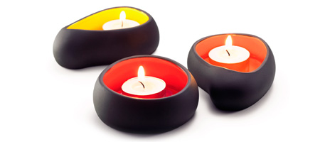 MINI MAGMA STONES VOTIVE HOLDERS - SET OF 3 | Pernille Vea Volcano, Magmas Stone Inspired Candleholders, Tealight, Votive Candle Holders, Primeval, Primordial, Interesting, Blazing Color, Fiery Red, O