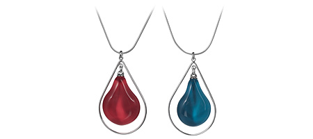 GLASS TEAR DROP NECKLACE | Tear-Drop, Rain Drops, Water Drops, Necklaces, Glass, Colored Glass Pendants, Jewelry By Bryce And Paola Tippner, Organic, Colorful, Pretty, Handmade In Oregon, Sterling Sil