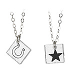 GLASS SQUARE NECKLACES | Laurel Denise Glass Pendants With Stars And HorseShoes, Luck, Hope, Superstitious, Fun, modern, Hand Drawn, handmade | UncommonGoods