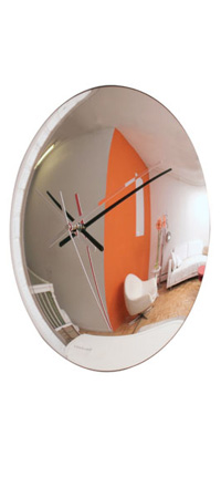 SPY CLOCK | Spying Clock, Modern, Fun, Sneaky, Spies, Secret Agent, Timepiece, Fish Eye Mirror, Reflective, Wall Clocks, Home, Office Accent | UncommonGoods from uncommongoods.com