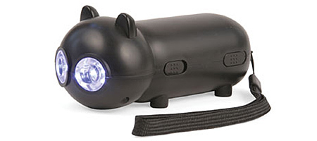 BLACK CAT RECHARGEABLE FLASHLIGHT | Dynamo Cat Flashlight, Black Cat Rechargeable Flashlight, Hand-Pumped Flashlight | UncommonGoods from uncommongoods.com